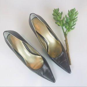 Nine West Brown Leather Kitten Heels 8M